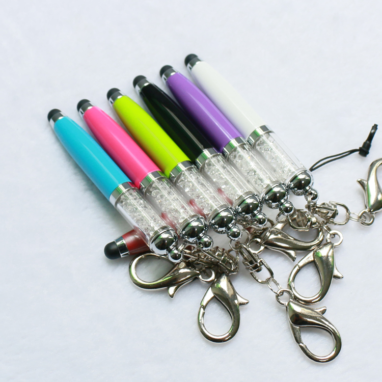 Mini metal diamond crystal stylus pen with key chain for gift