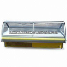 Lift-up Curved Glass Serve Over showcase for supermaket with 1.8/2.4/3.6m Optional Width