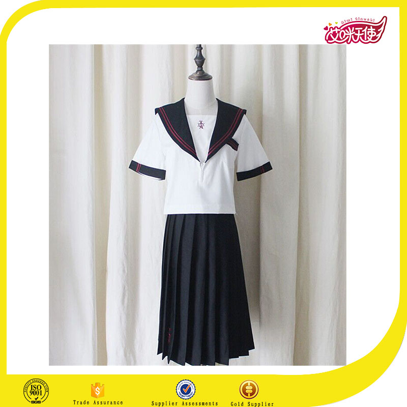 Fahion Japan Women JK Student Sailor style School Uniform Long Pleated Skirt,girl's suit school uniform