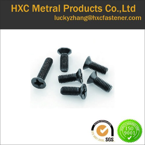 Black zinc plated flat head machine screw