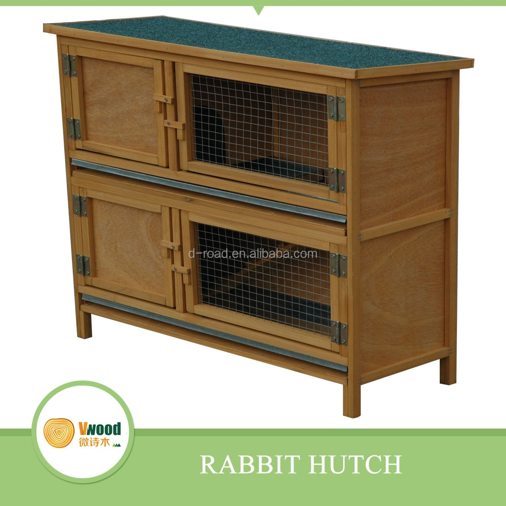 Two layers wooden yellow Rabbit hutch