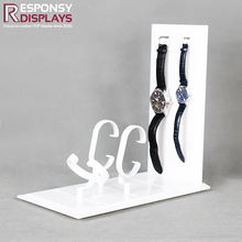 Simple style mini countertop white acrylic watches display rack