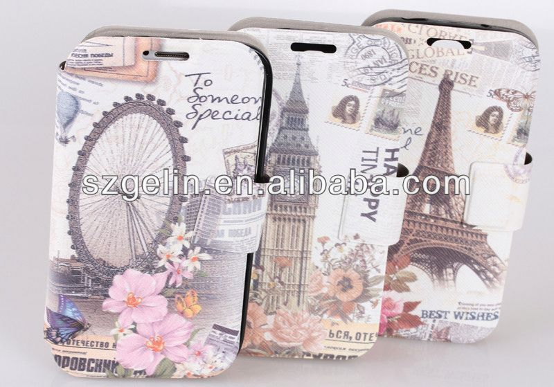 British style leather wallet case for samsung galaxy s4