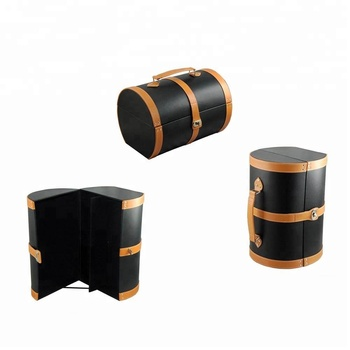 Wholesale portable tube shape black customized leather wine box