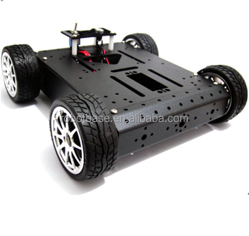 4WD Rubber Wheel Chassis Aluminium Mobile Robot Car Chassis with 12V 120R Metal Motor