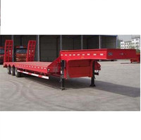 Tri-axle 40-60 ton Low Flatbed Semi Trailer Low Bed Excavator Truck Trailer Trucks And Trailers