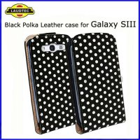 Polka dots Slim Leather Flip Case for Samsung I9300 Galaxy S3 SIII mobile phone cover,more colors available----Shenzhen Laudtec