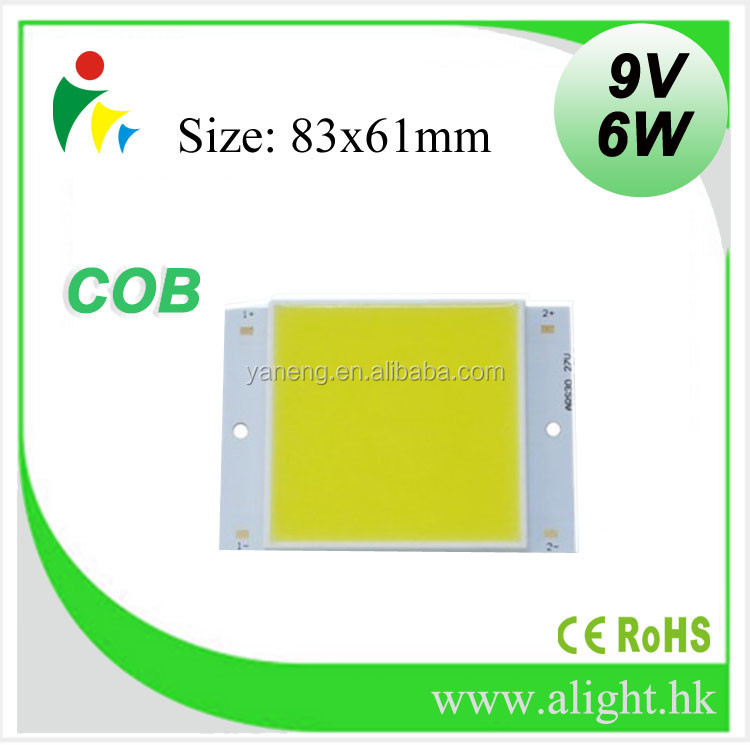 Zhong shan Natural White Emitting Color 6W 9V COB square LED chip