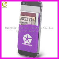 New product glitter function purple color 3M sticker silicone mobile phone wallet silicone card pocket
