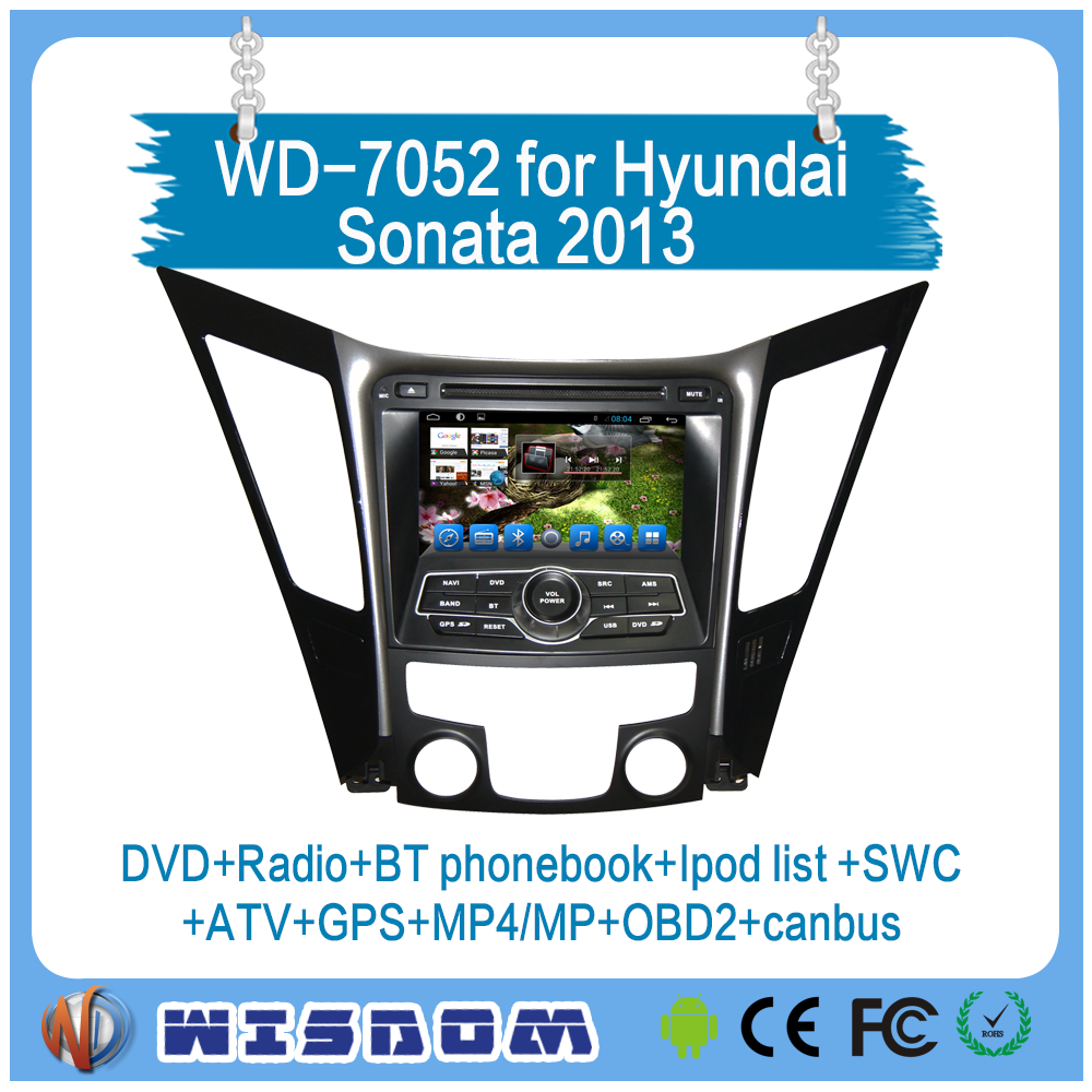 Wisdom double din Car dvd radio for Hyundai Sonata 2013 car multimedia mp3/mp4 player with reversing camera car headrest dvd GPS