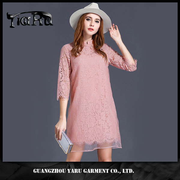 Grace Noble Chinese Cheongsam Lace A Line Women girls Pink Summer Dresses for fat woman