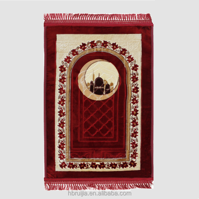 Hot Sale New Design 100% Polyester Printed Prayer Carpet for Mosque