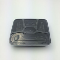 Food 5-Compartment Plastic Cylindrical Container