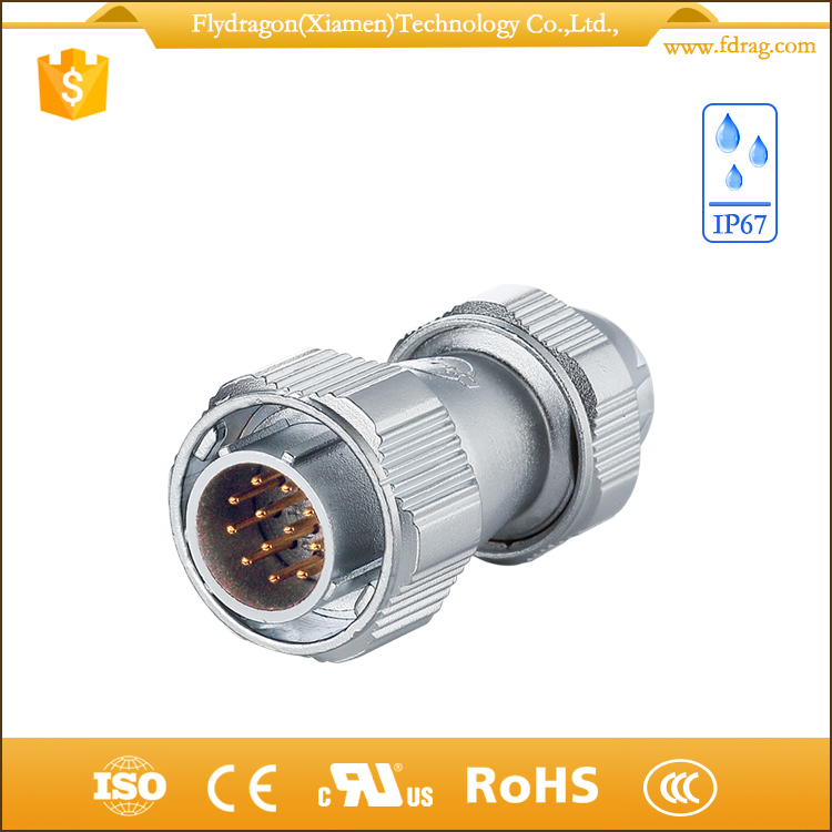 IP67 12 core optical fiber cable waterproof connectors 12 pin