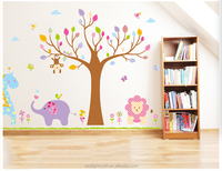JM7293AB kids room decorative 3D sticker /cartoon kids pvc animal wall sticker