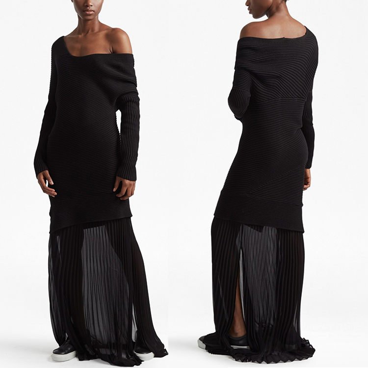 jumper asymmetric design Knit loose Black long sleeves sweater maxi dress