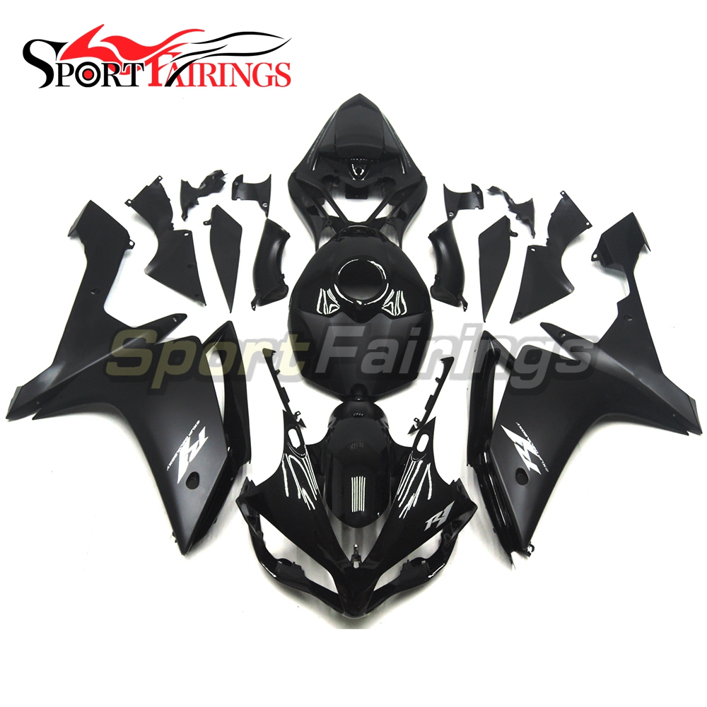 Injection Full <strong>Fairings</strong> For Yamaha YZF <strong>R1</strong> 07 <strong>08</strong> ABS Plastic Injection Motorcycle Kit Black Silver Decals Body Kits