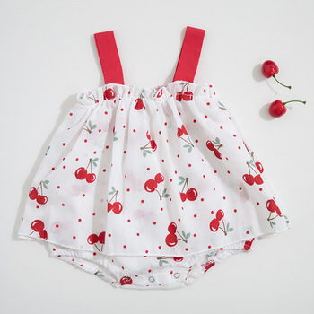 2019 baby girl cherry print breathable cool straps skirts sleeveless cotton romper
