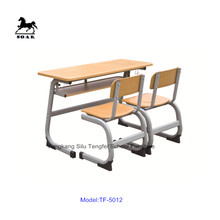 Wooden Werzalit Student Double Desk And Chair Set for primary student TF-5012