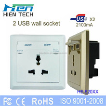 3 pin electric plug socket 110-250V universal wall multi outlet socket with 2.1A usb output