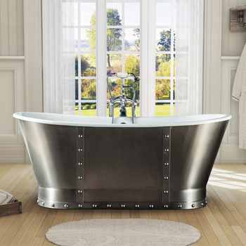 Cast Iron French Beau Tub With Gray Painted Polished Exterior