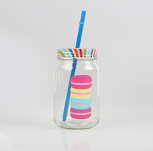 Wholesale custom made embossed mason jars with tin lids and straws