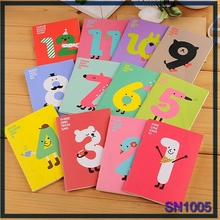 Wholesale stationery items for schools Multi-color cute numbers cartoon charactor mini composition notebook