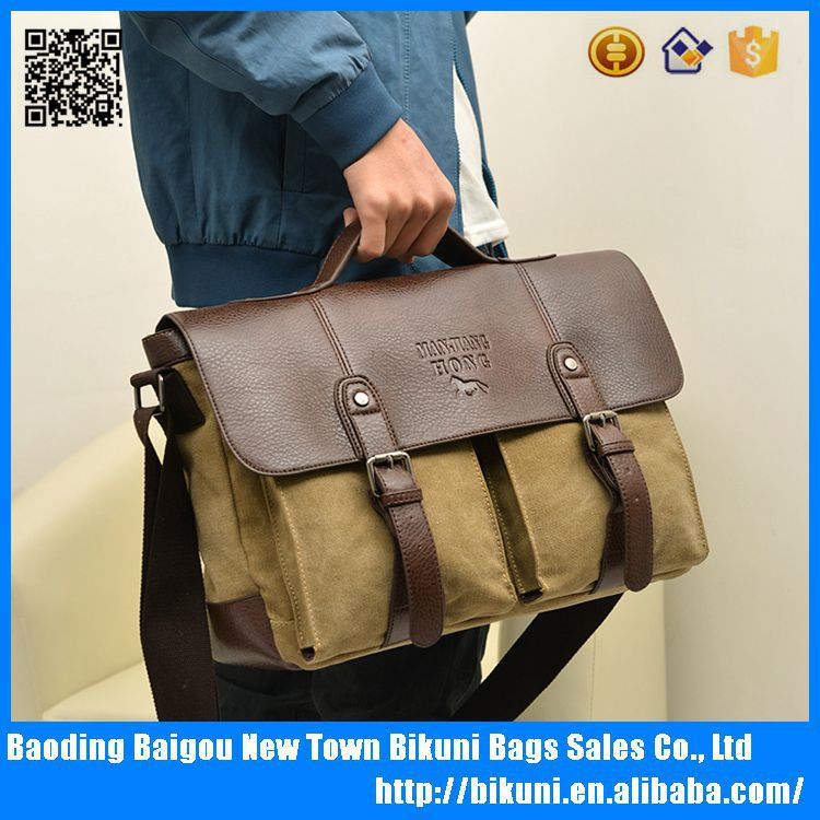 Vintage canvas leather shoulder business laptop messenger bag with handle