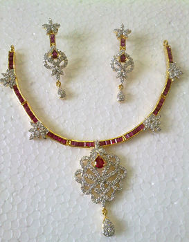 American Diamond Indian Wedding Bollywood Neclace Earrings with ruby gemstone