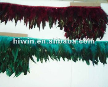 Feather trimming with satin ribbon tape