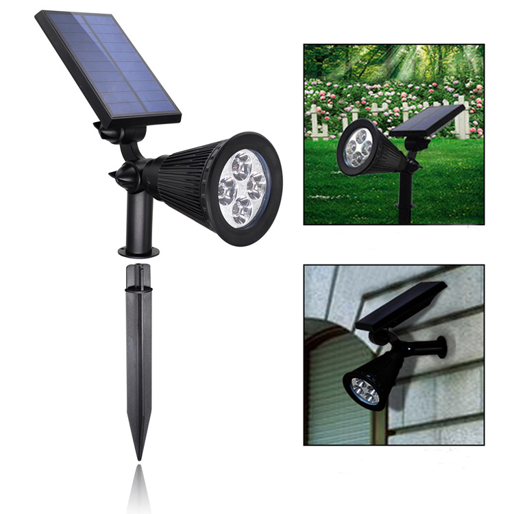 New Product Decorative Outdoor Waterproof 4 LED Adjustable Auto On/Off Powerful Solar LED Garden light for Courtyard Stairways
