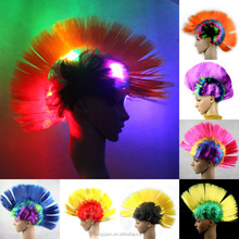 Rainbow Mohawk world cup football Sports fans Wig Synthetic Halloween Cosplay Carnival party Punk Light Up LED Wigs