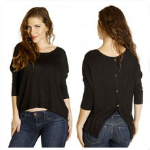 Open back button tee tops fancy girl long sleeve t shirt