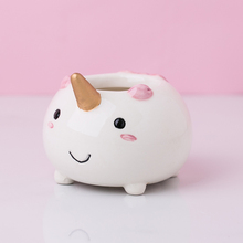 Cartoon Cute Mini Unicorn Shape Ceramic Animal Pot Succulent Planter