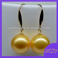 14K gold hook earrings south sea pearl earrings