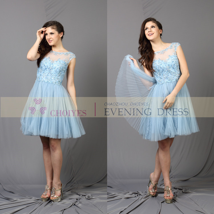 Light blue real pictures samples of cocktail party dress