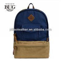 Fashion strong canvas backpack canvas school bag with leather trimming