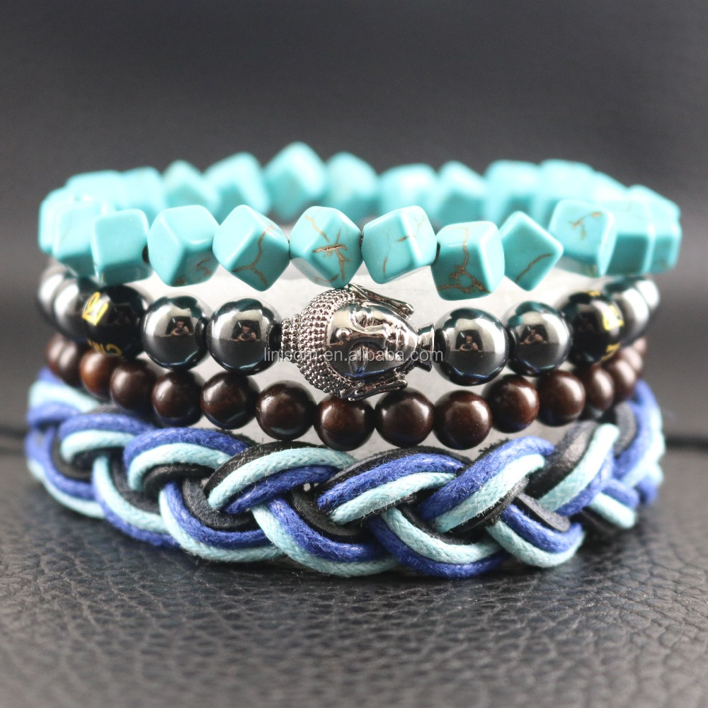 Hematite Beads Religious Buddha Bracelets Blue Leather Handmade Braided Wrap Jewelry Sporty Yoga Fashion Bracelet