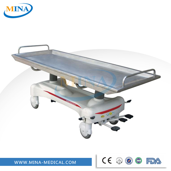MINA-ST010 Adjustable stainless steel medical hydraulic stretcher with wheels