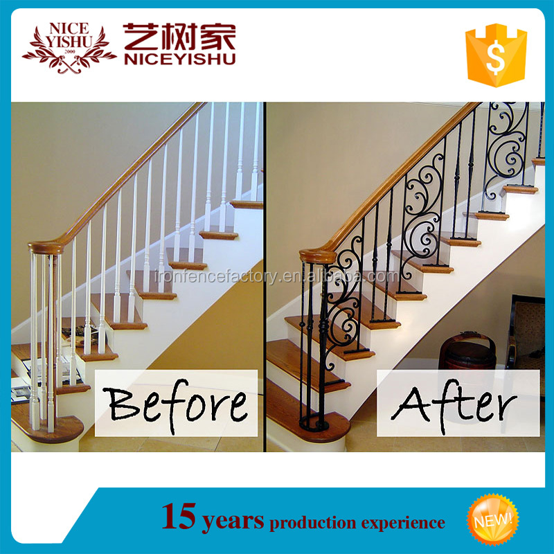 Forged wrought iron stair handrail, metal staircase /Wrought iron stair railing parts, iron stair spindles