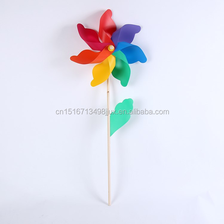 12cm Wooden stick holder seven colors Wedding festival party garden decoration ornament plastic Outdoor windmills
