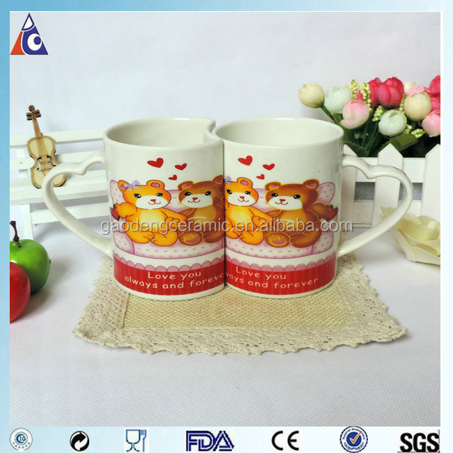 Romantic ceramic couple mug with heart shape