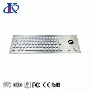Industrial metal led illuminated keyboard with optical trackball