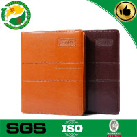 China supplier A4 leather compendium/PU portfolio/file folder with LOGO embossed