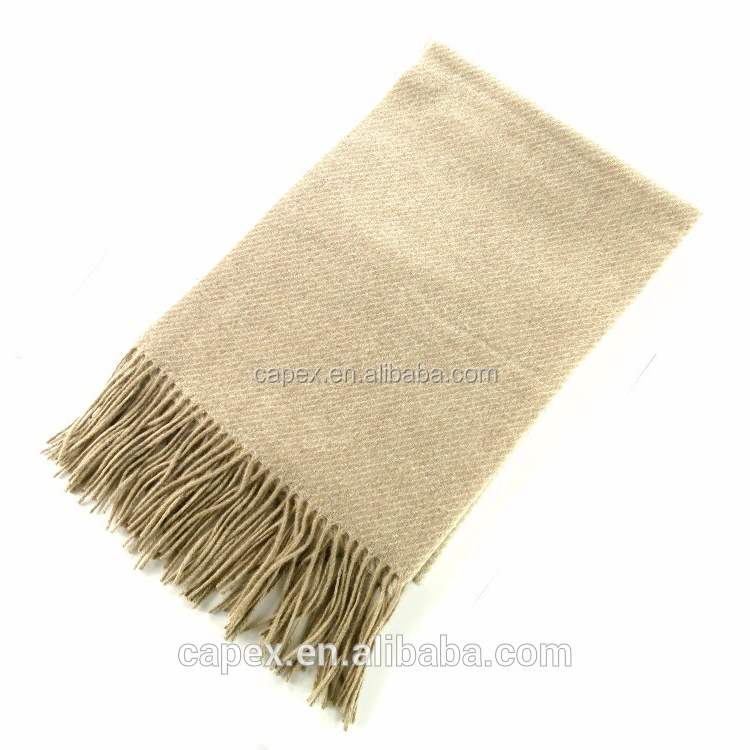 smooth thick Winter Finest Beige Plain Wool tassel Shawl
