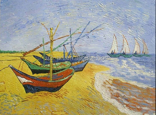 Masterpiece oil painting Fishing Boats on the Beach by Van Gogh