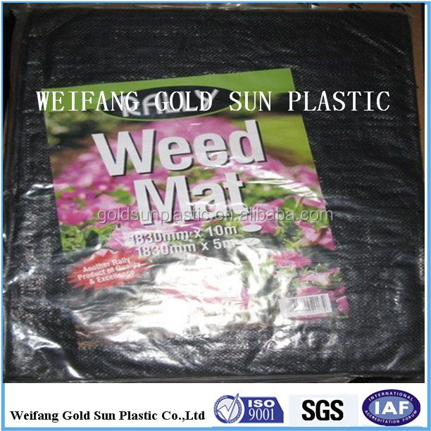 100% pp woven ground cover weed control mat with poly bag