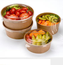 Disposable take away kraft paper hot soup/salad bowl/food container match with lid