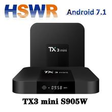 Android 7.1 TV Box S905w 2GB 16GB TX3 MINI 4k HD 3d satellite receiver smart tv box universal cable set top box