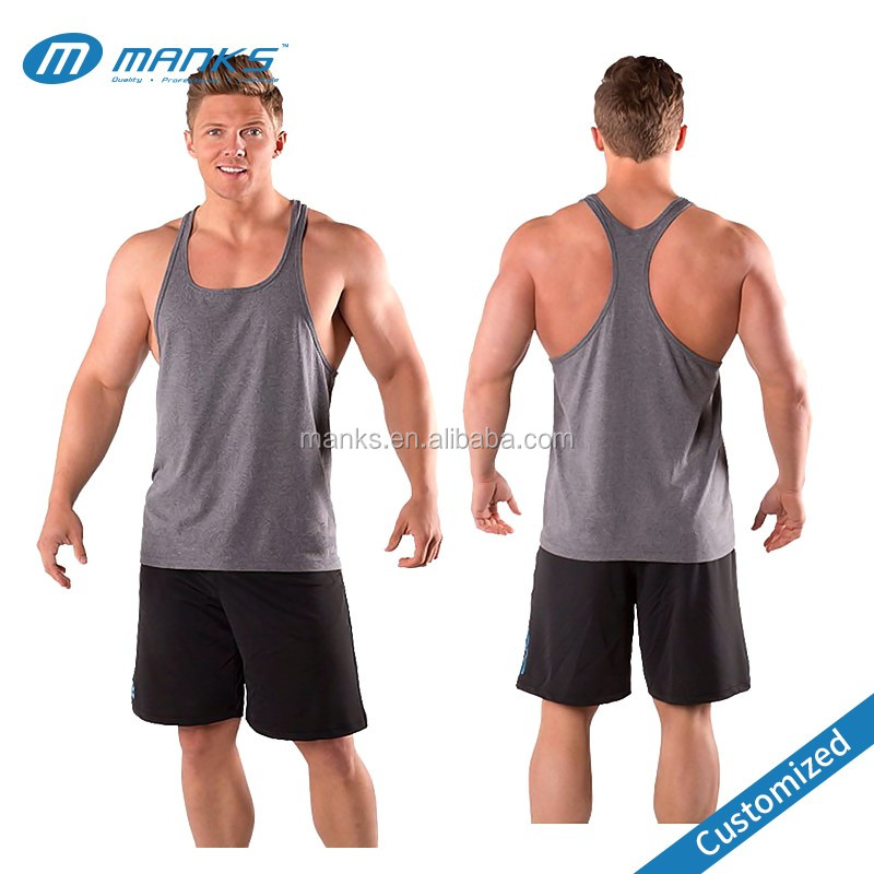 Custom Made Men 95% Cotton and 5% Spandex Gym Bodybuilding Tank Top